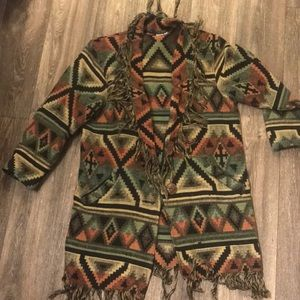 Retro Vintage 70's Southwestern Tassel Cardigan